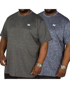 Bigdude Stretch T-Shirt Twin Pack Blue/Grey