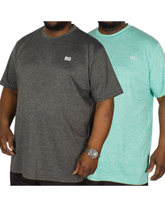 Bigdude Stretch T-Shirt Twin Pack Green/Grey