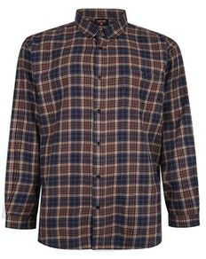 Espionage Brush Check Shirt Navy