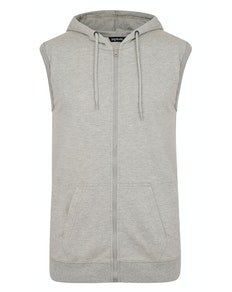Bigude Loop Back Sleeveless Hoody Grey Marl