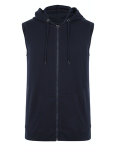 Bigdude Loop Back Sleeveless Hoody Navy Tall
