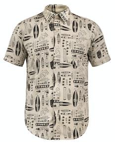 Bigdude Short Sleeve Surfboard Print Shirt Sand