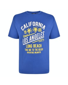 Espionage California Print T-Shirt Royal Blue