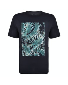 Espionage Palm Print T-Shirt Navy