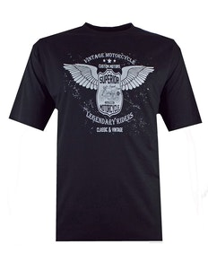 Espionage Vintage Motorcycle Printed T-Shirt Black