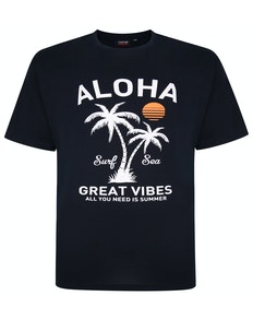 Espionage Aloha Print T-Shirt Navy