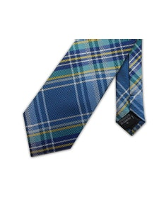 Knightsbridge Extra Long Checked Tie Blue