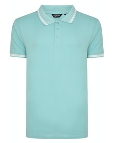Bigdude Tipped Polo Shirt Turquoise