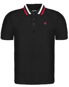 Bigdude Chunky Tipped Polo Shirt Black