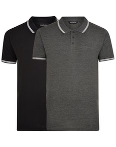 Bigdude Tipped Polo Shirt Twin Pack Black/Charcoal