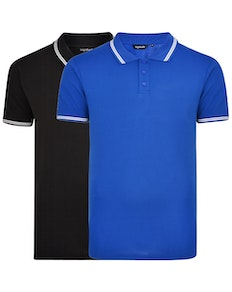 Bigdude Tipped Polo Shirt Twin Pack Black/Royal Blue