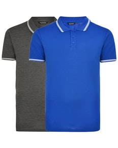 Bigdude Tipped Polo Shirt Twin Pack Charcoal/Royal Blue