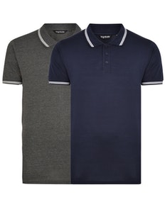 Bigdude Tipped Polo Shirt Twin Pack Charcoal/Navy