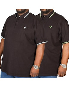 Bigdude Tipped Polo Shirt Twin Pack Green/Blue