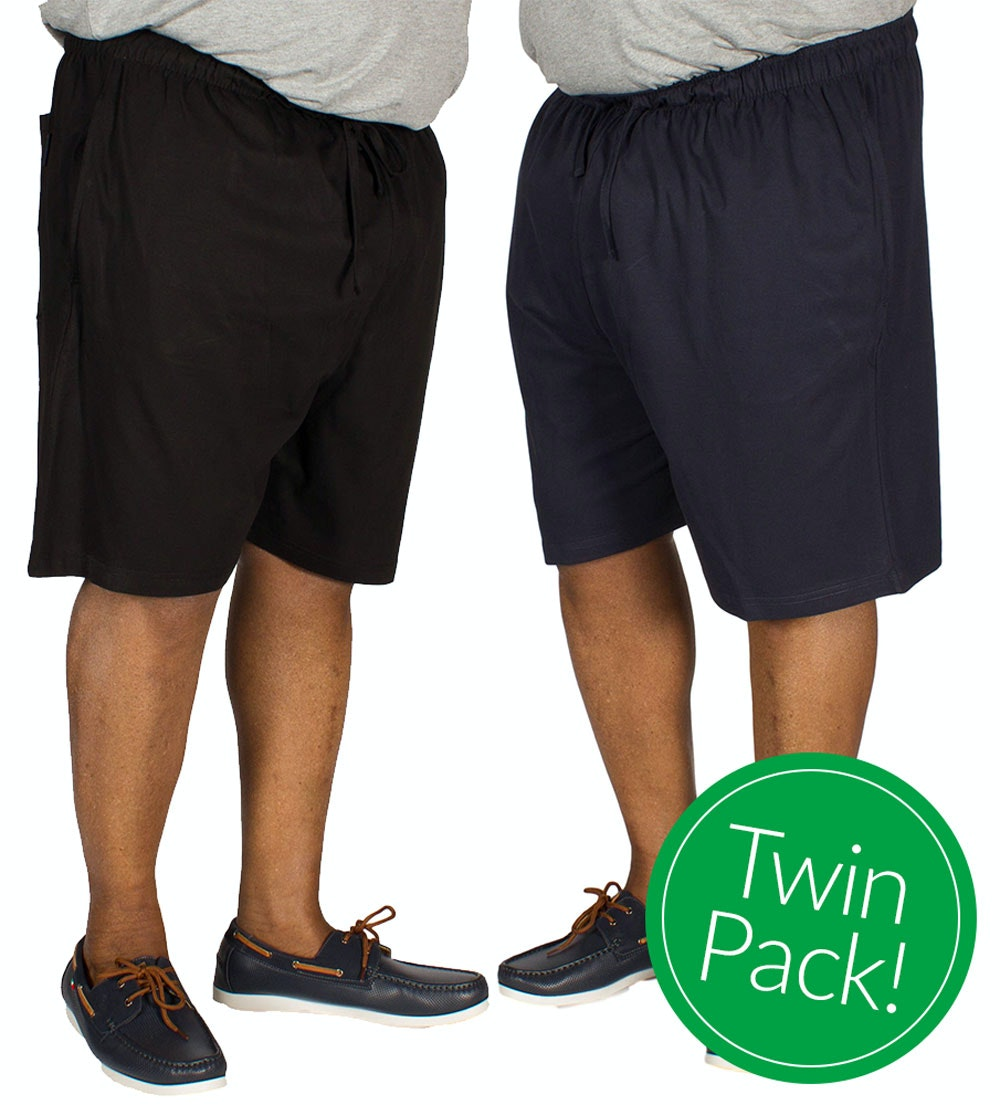Espionage Twin Pack Pyjama Shorts Navy and Black
