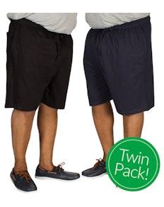 Espionage Twin Pack Pyjama Shorts Navy and Black