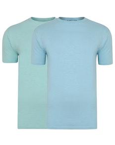 Bigdude Vintage Marl Slub T-Shirt Twin Pack Sky Blue/Turquoise