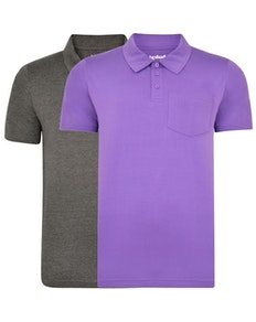 Bigdude Jersey Polo Shirt With Pocket Twin Pack Charcoal/Purple