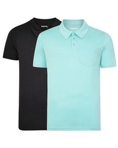 Bigdude Jersey Polo Shirt With Pocket Twin Pack Black/Turquoise