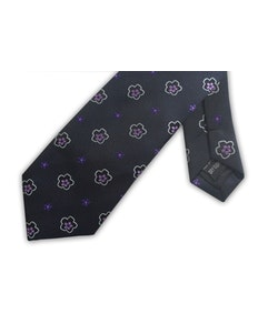 Knightsbridge Extra Long Flower Tie Purple