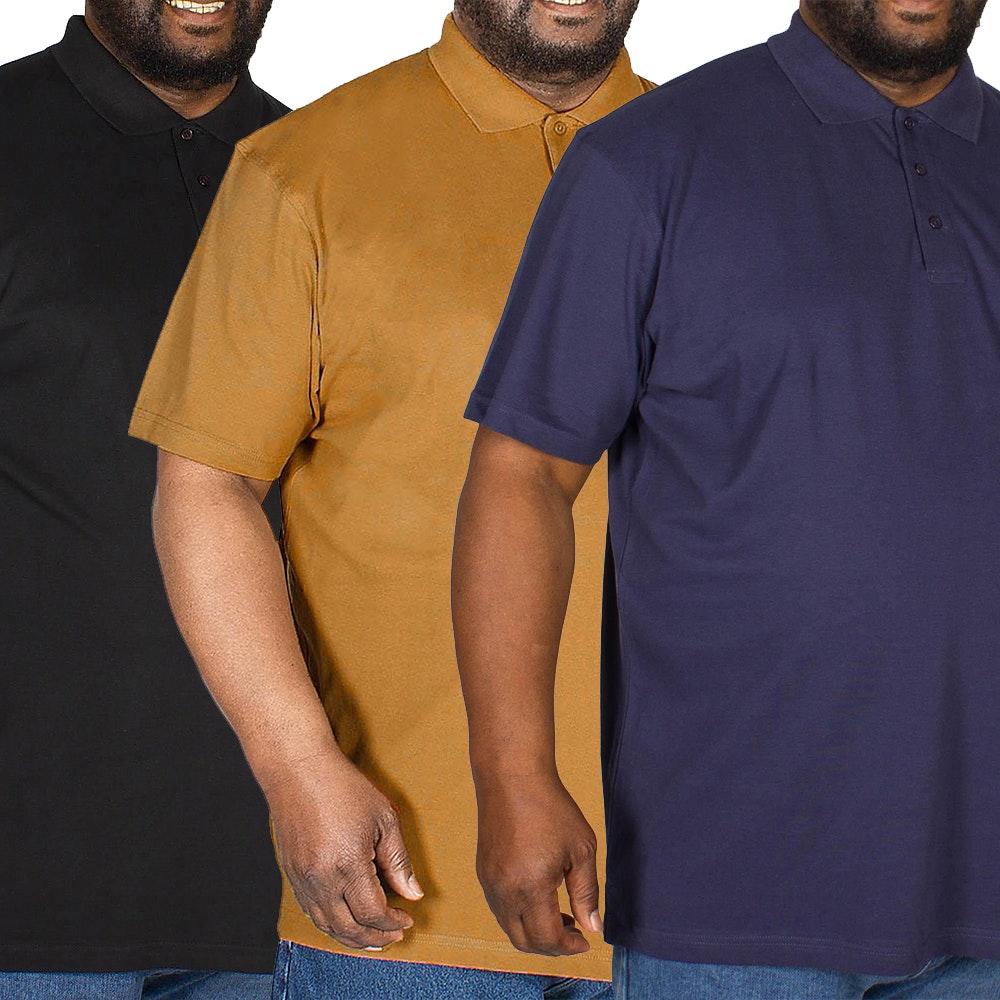 Bigdude Plain Polo Shirt Triple Pack Black/Brown/Navy