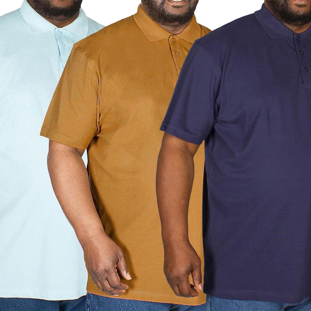 Bigdude Plain Polo Shirt Triple Pack Brown/ Light Blue/Navy