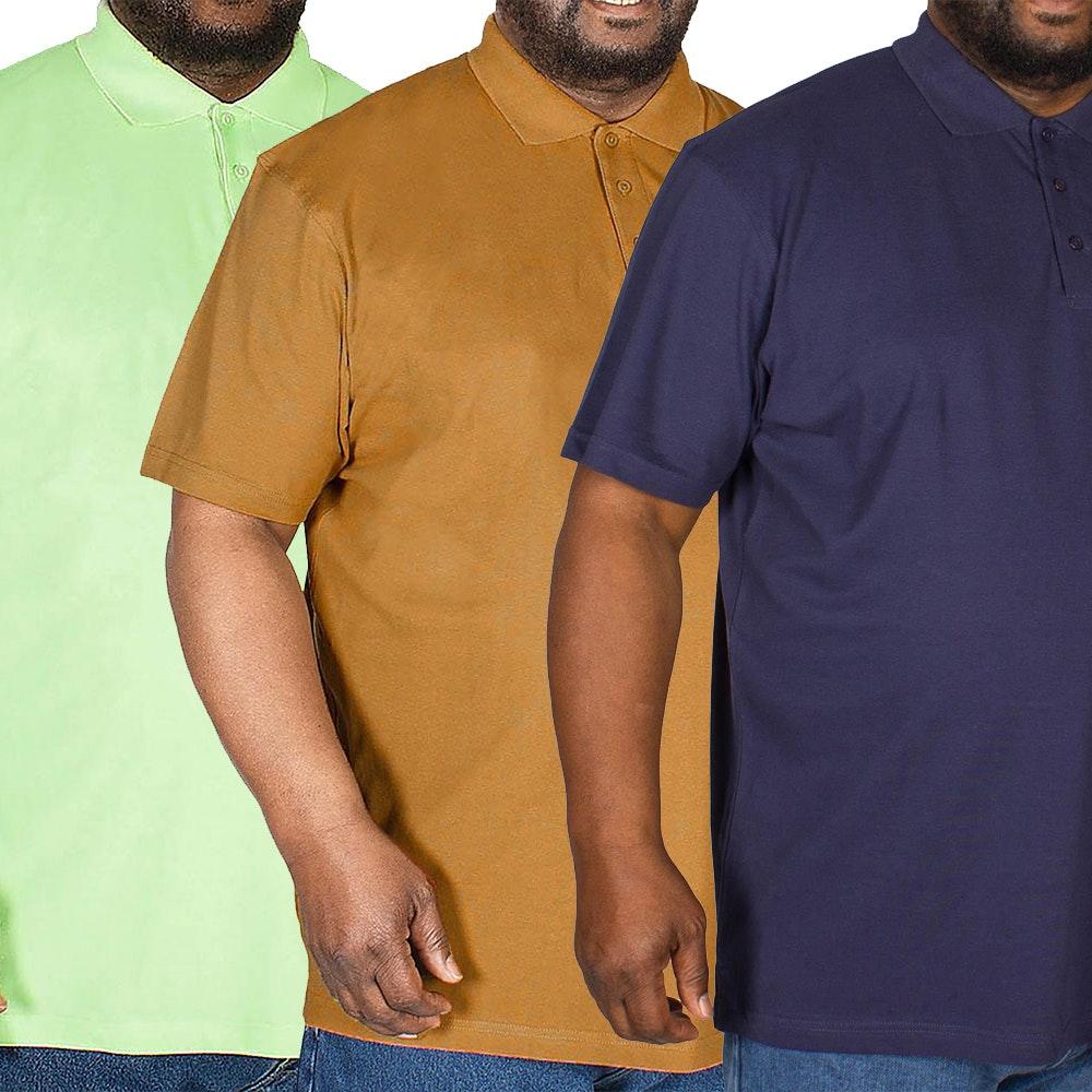 Bigdude Plain Polo Shirt Triple Pack Brown/Green/Navy