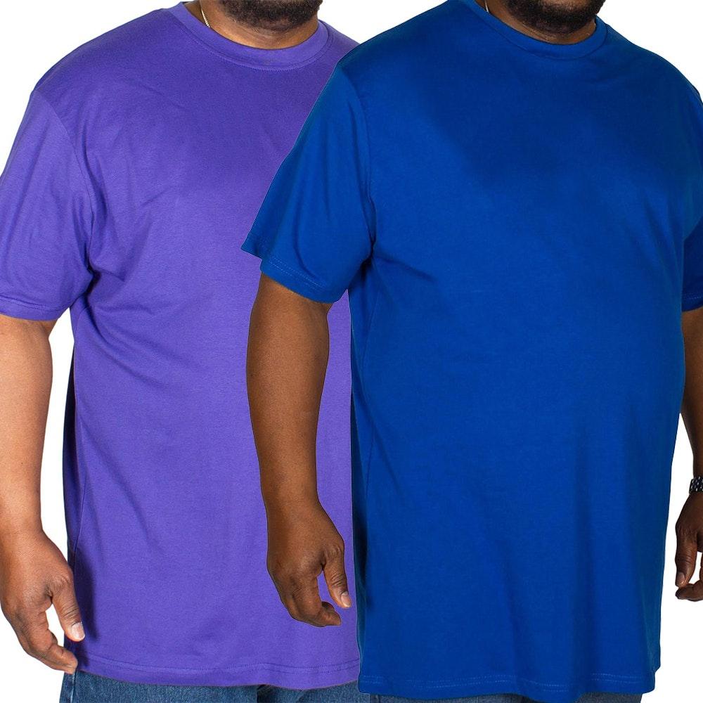 Bigdude Plain Crew Neck T-Shirt Twin Pack Royal Blue/Purple