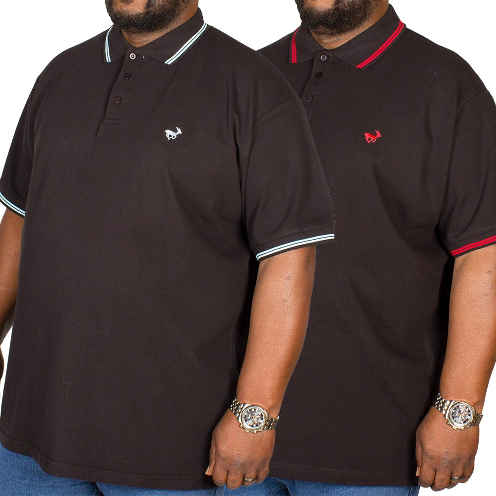 Bigdude Tipped Polo Shirt Twin Pack Blue/Red