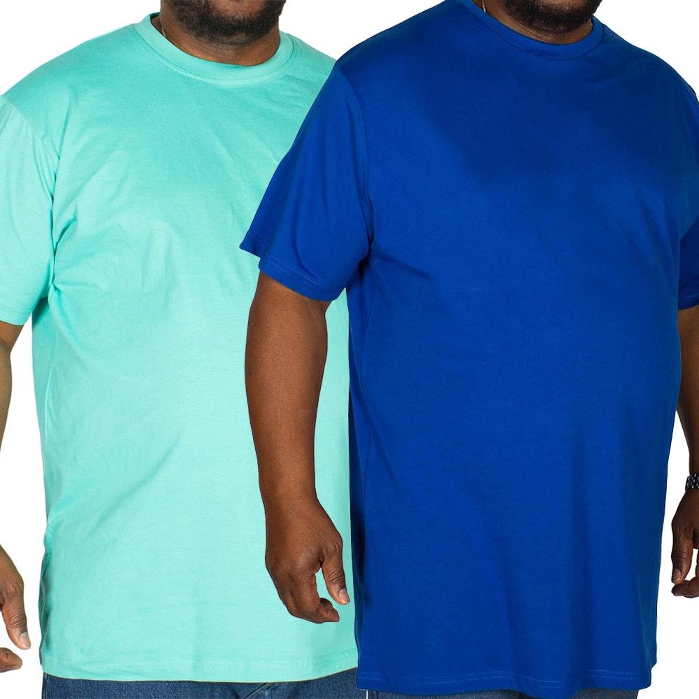 Bigdude Plain Crew Neck T-Shirt Twin Pack Royal Blue/Turquoise