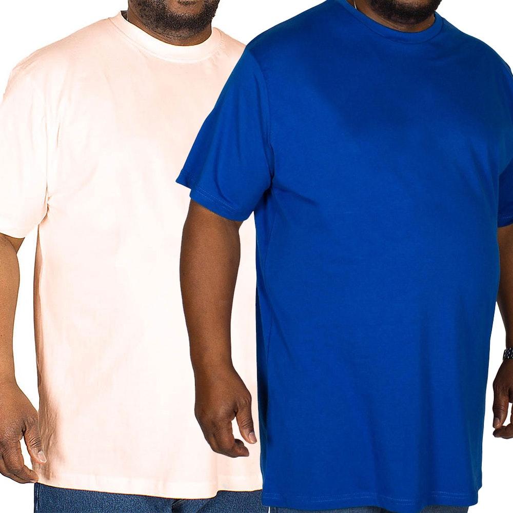 Bigdude Plain Crew Neck T-Shirt Twin Pack Royal Blue/Pale Pink