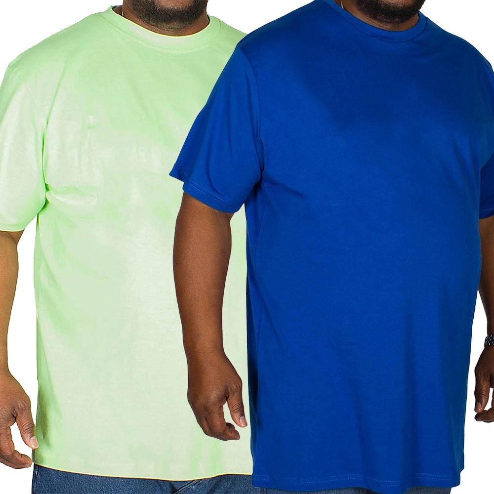 Bigdude Plain Crew Neck T-Shirt Twin Pack Royal Blue/Lime Green