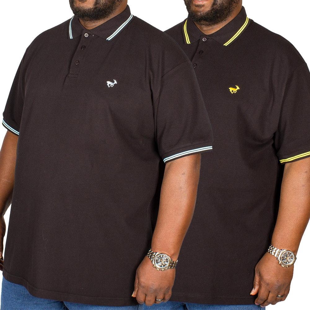 Bigdude Tipped Polo Shirt Twin Pack Blue/Yellow