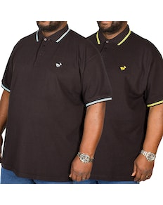 Bigdude Tipped Polo Shirt Twin Pack Blue/Yellow