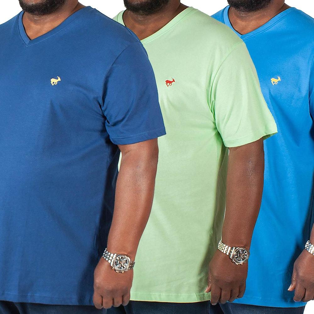 Bigdude Signature V-Neck T-Shirt Triple Pack Blue/Green/Navy