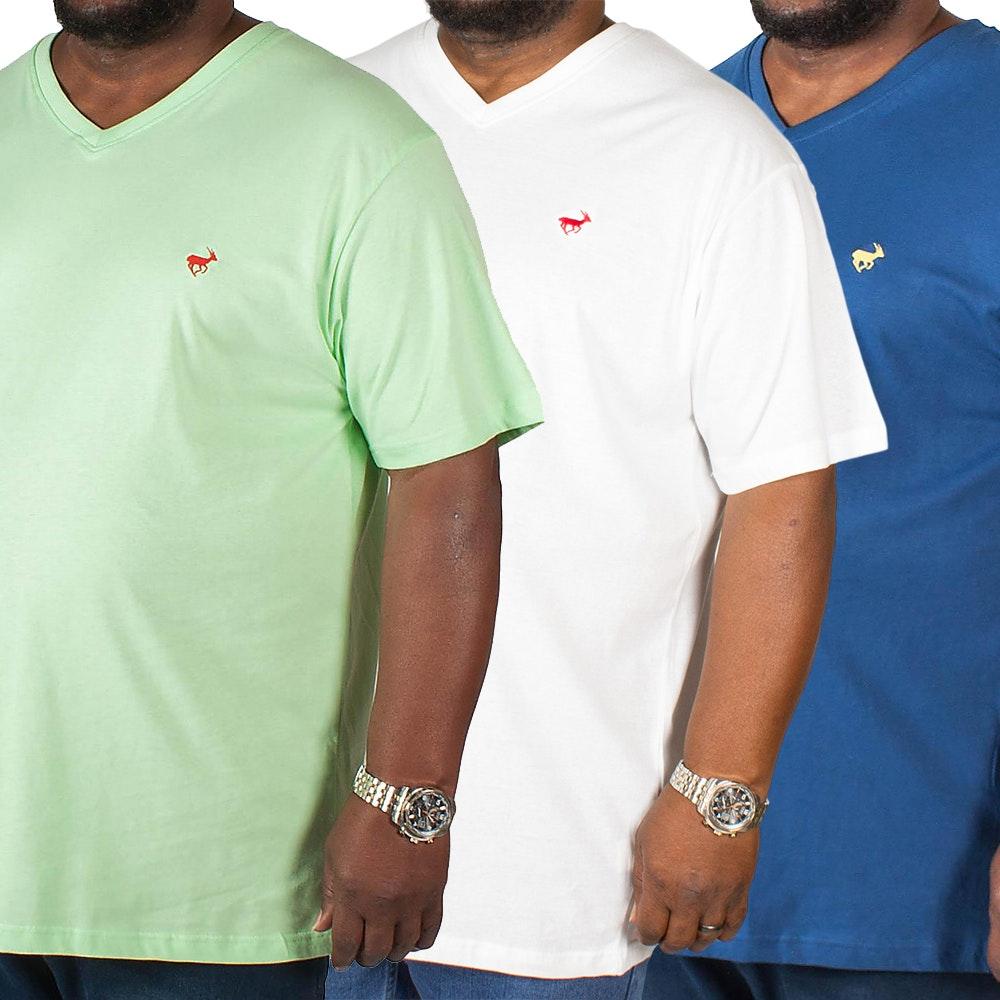 Bigdude Signature V-Neck T-Shirt Triple Pack Green/Navy/White