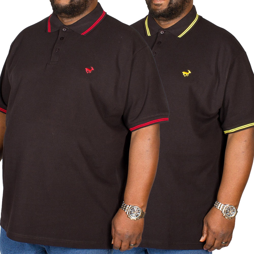 Bigdude Tipped Polo Shirt Twin Pack Red/Yellow