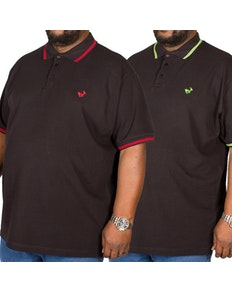 Bigdude Tipped Polo Shirt Twin Pack Red/Green