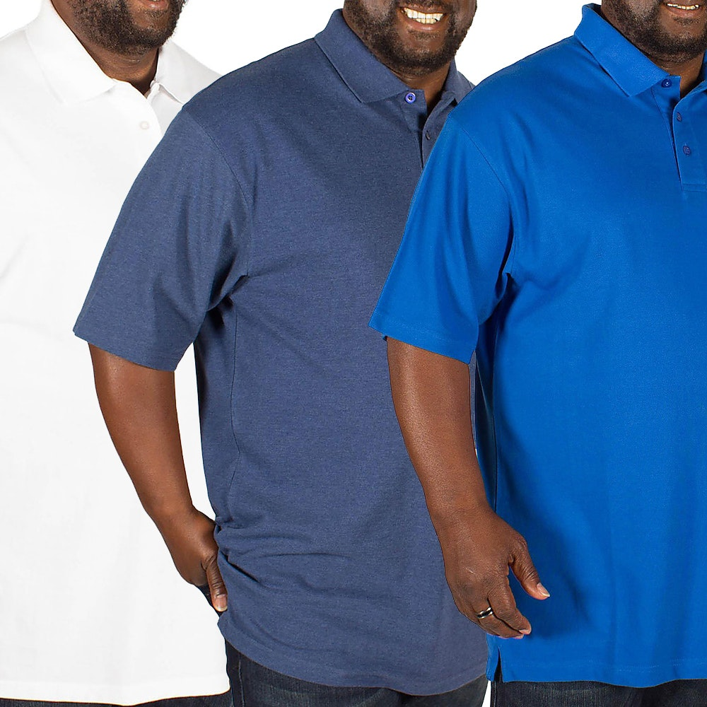 Bigdude Plain Polo Shirt Triple Pack Royal Blue/Denim/White
