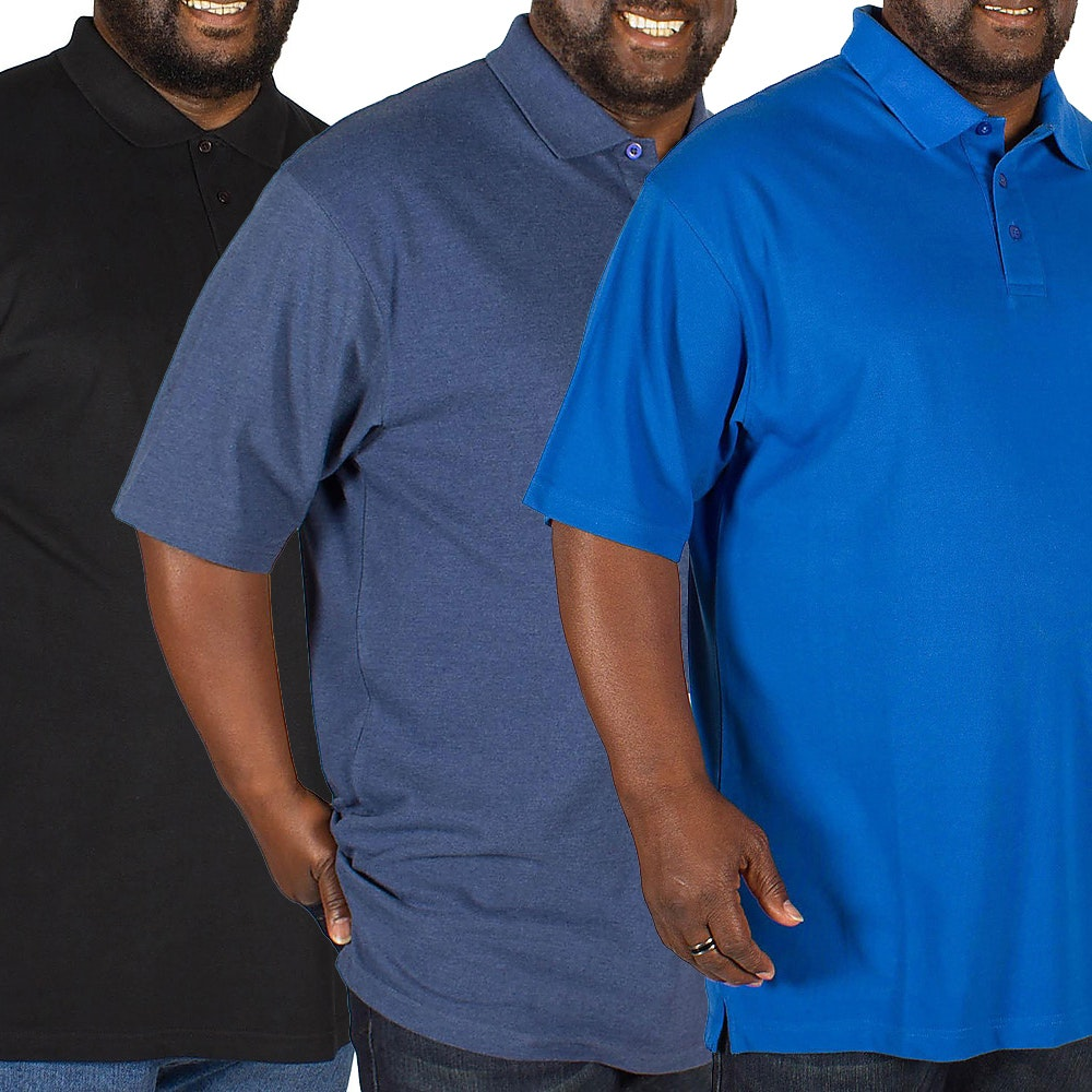 Bigdude Plain Polo Shirt Triple Pack Black/Denim/Royal Blue