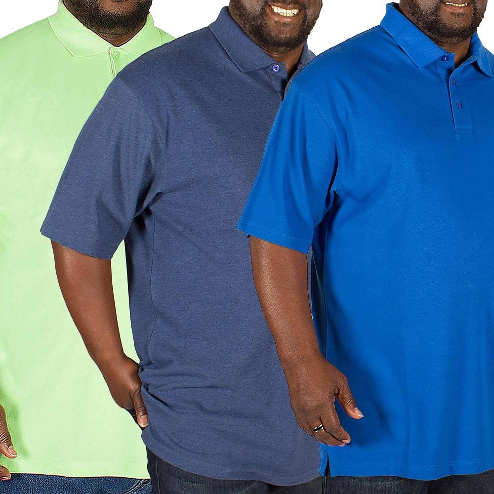 Bigdude Plain Polo Shirt Triple Pack Denim/Green/Royal Blue
