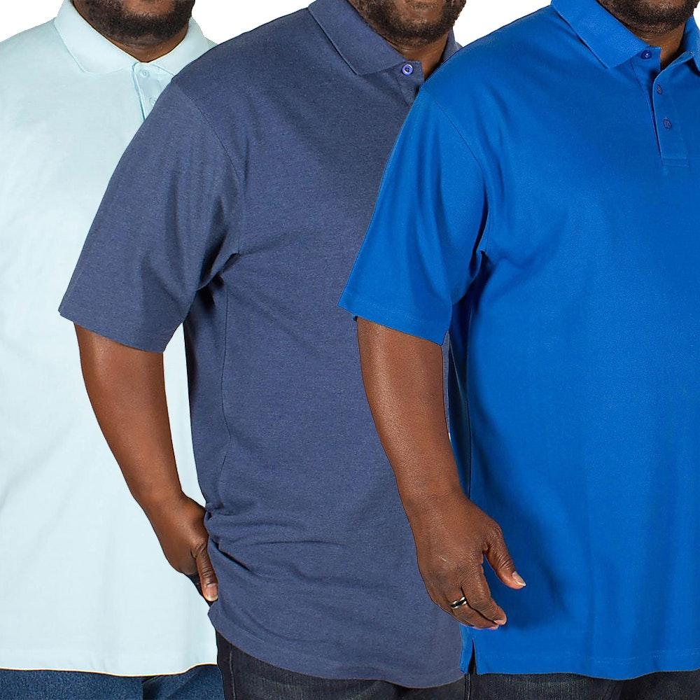 Bigdude Plain Polo Shirt Triple Pack Denim/Light Blue/Royal
