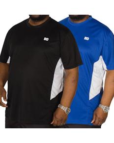 Bigdude Vented Stretch T-Shirt Twin Pack Black/Blue