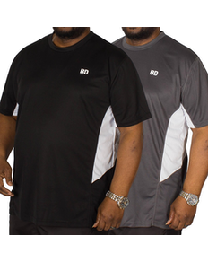 Bigdude Vented Stretch T-Shirt Twin Pack Black/Charcoal