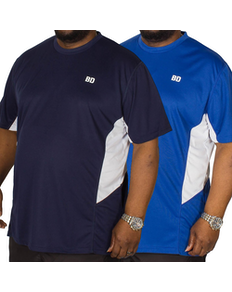 Bigdude Vented Stretch T-Shirt Twin Pack Blue/Navy