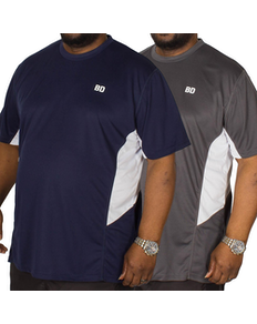 Bigdude Vented Stretch T-Shirt Twin Pack Charcoal/Navy