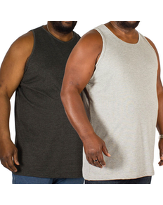 Bigdude Plain Vest Twin Pack Charcoal/Grey