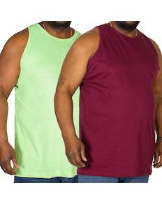 Bigdude Plain Vest Twin Pack Burgundy/Green