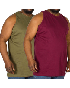 Bigdude Plain Vest Twin Pack Burgundy/Olive