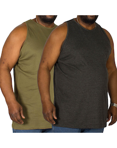 Bigdude Plain Vest Twin Pack Charcoal/Olive